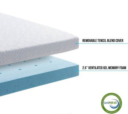LUCID 2.5 Inch Foam Mattress Topper